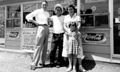 Dad (center), Eleanor and Susie with unknown man (July 1956)