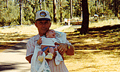 Ray and baby Michael (3 weeks old!) camping in La Pine, Oregon